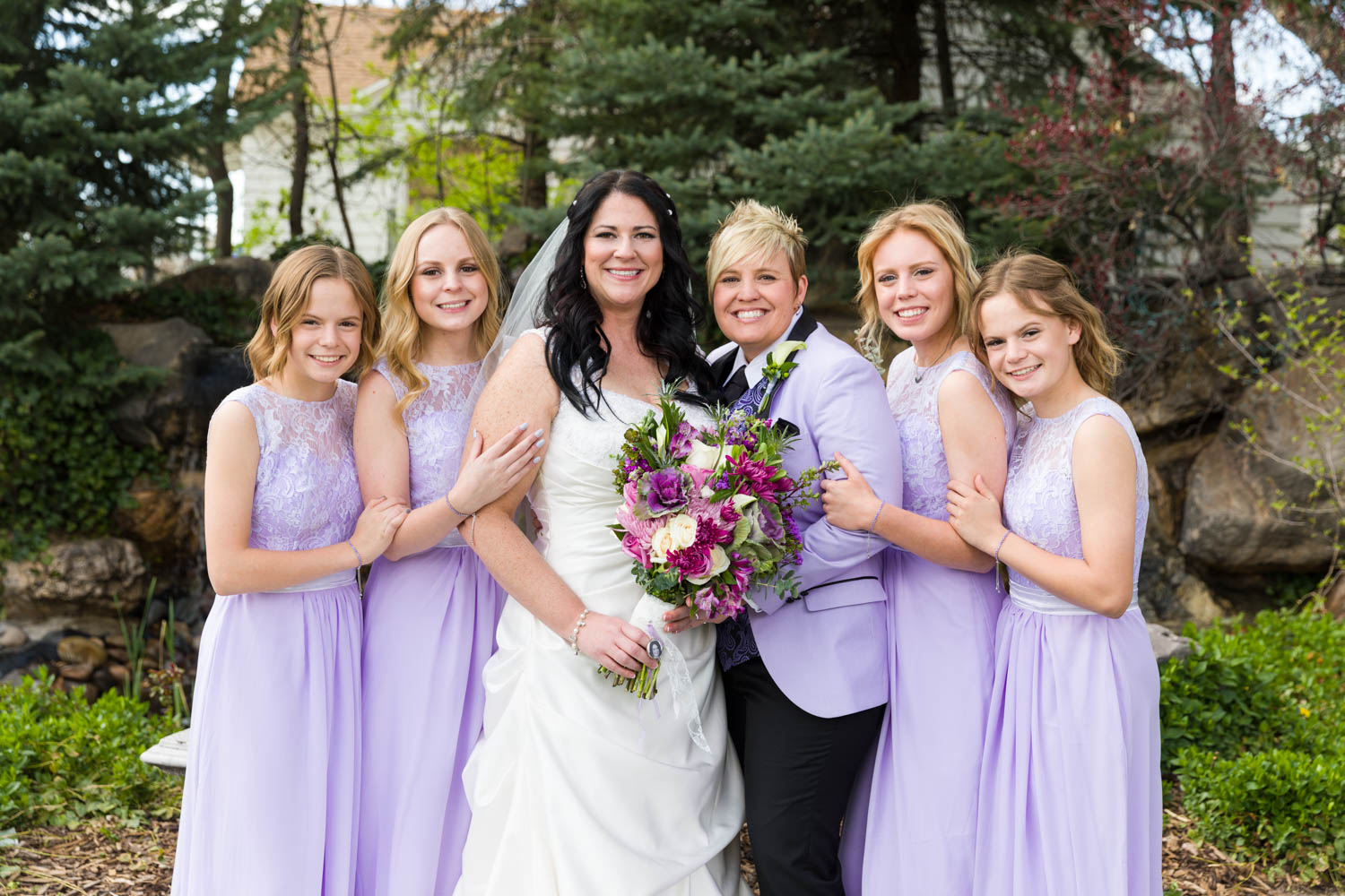 Wedding photo with the family who were the bridesmaids