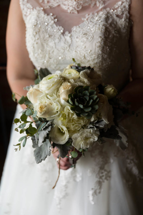 Bride holds her bouquet