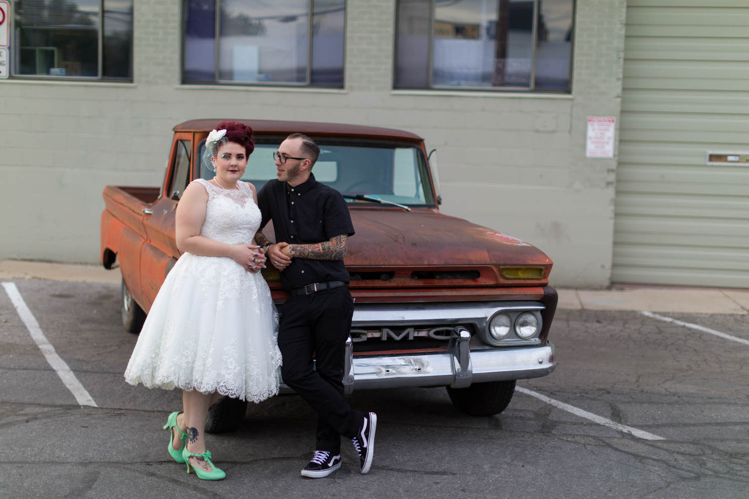 Wedding photos by a classic GMC truck