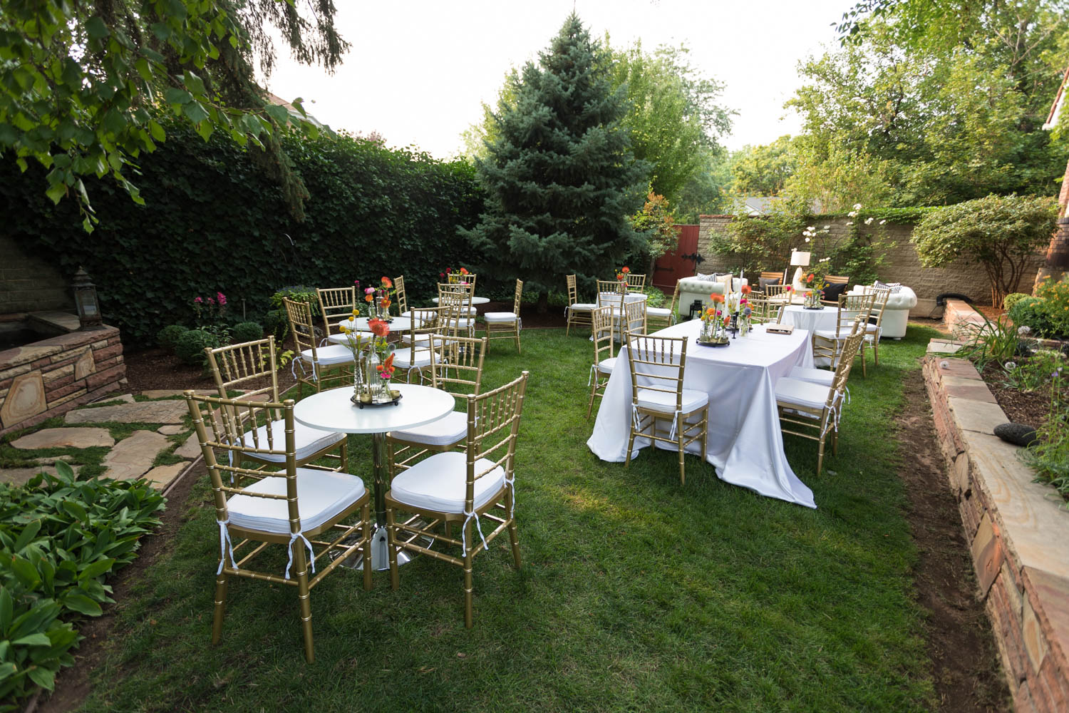 A backyard wedding reception