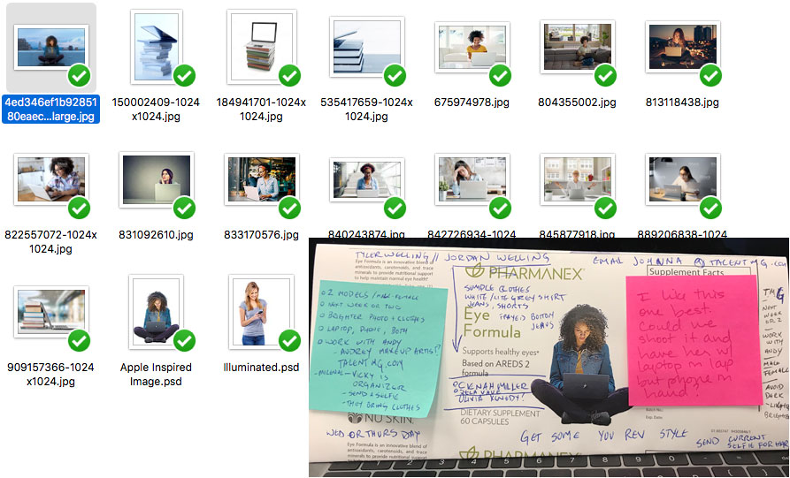 A mood board with stock photos and notes