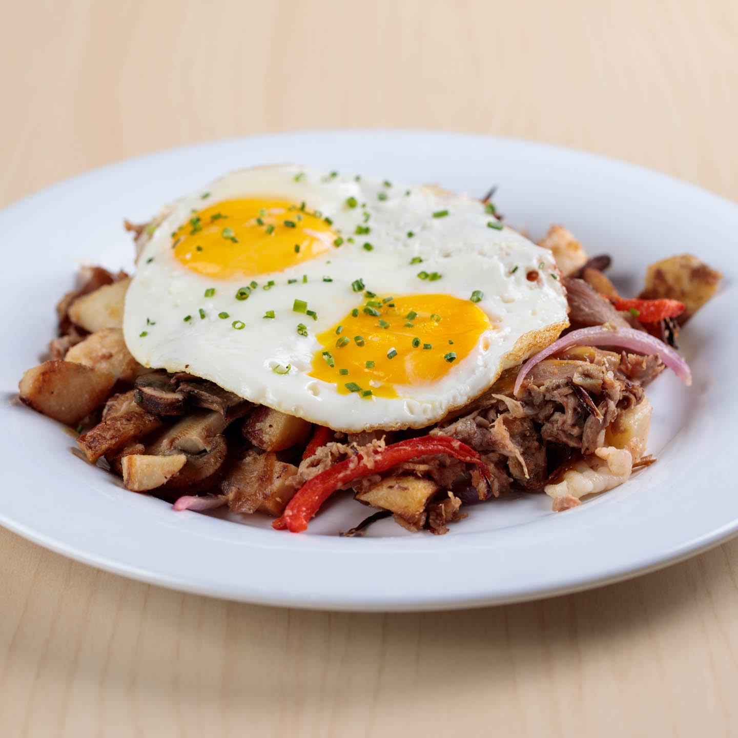 Hero Hash with brisket and eggs