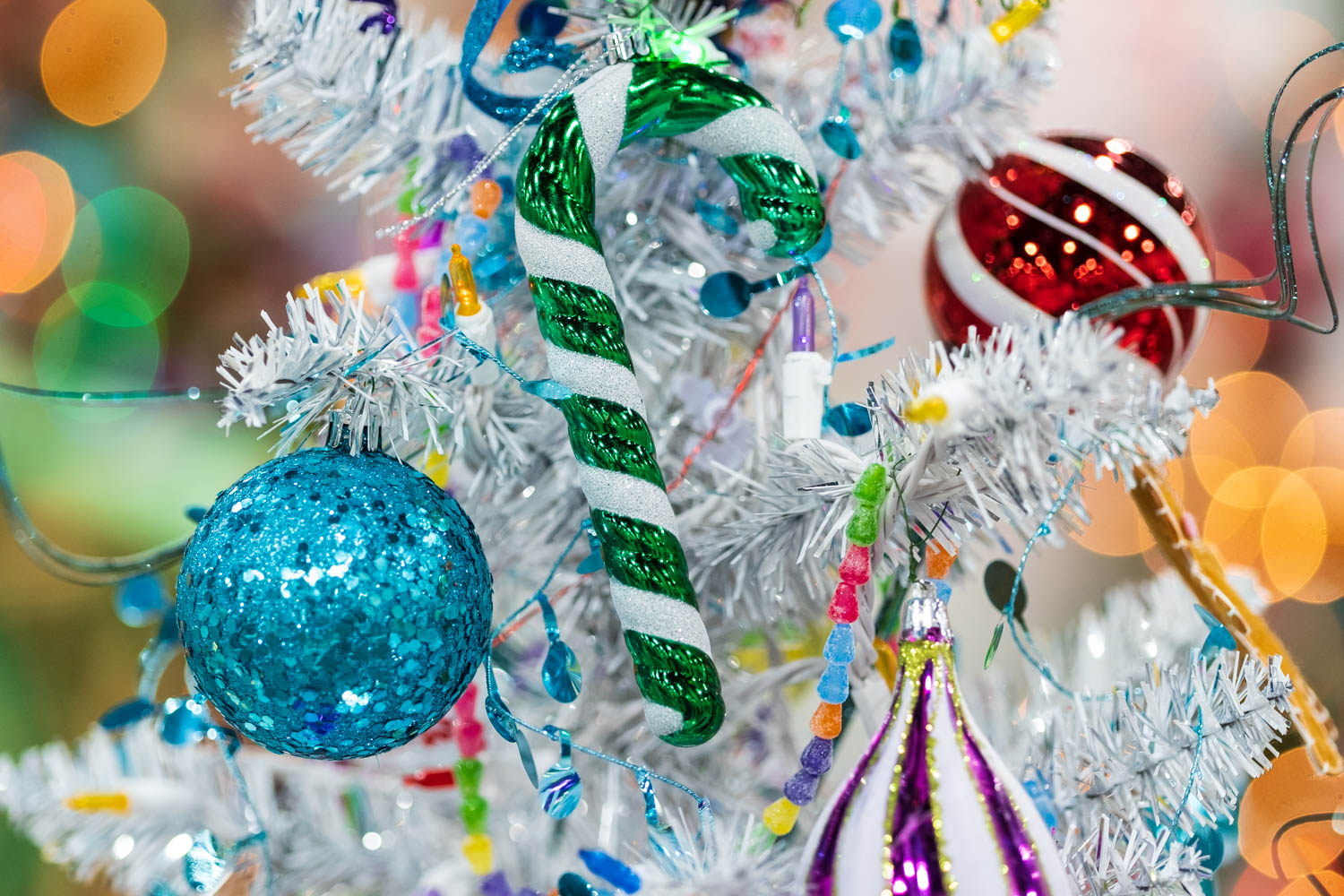 Candy Cane and White Christmas Tree