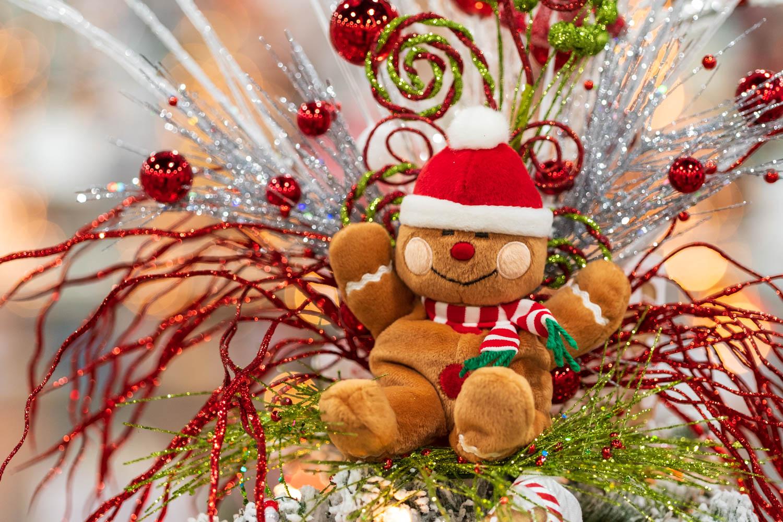 A stuffed gingerbread man decoration