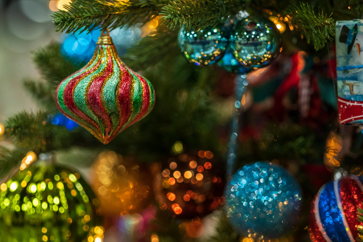 Blue, red, and green decorations