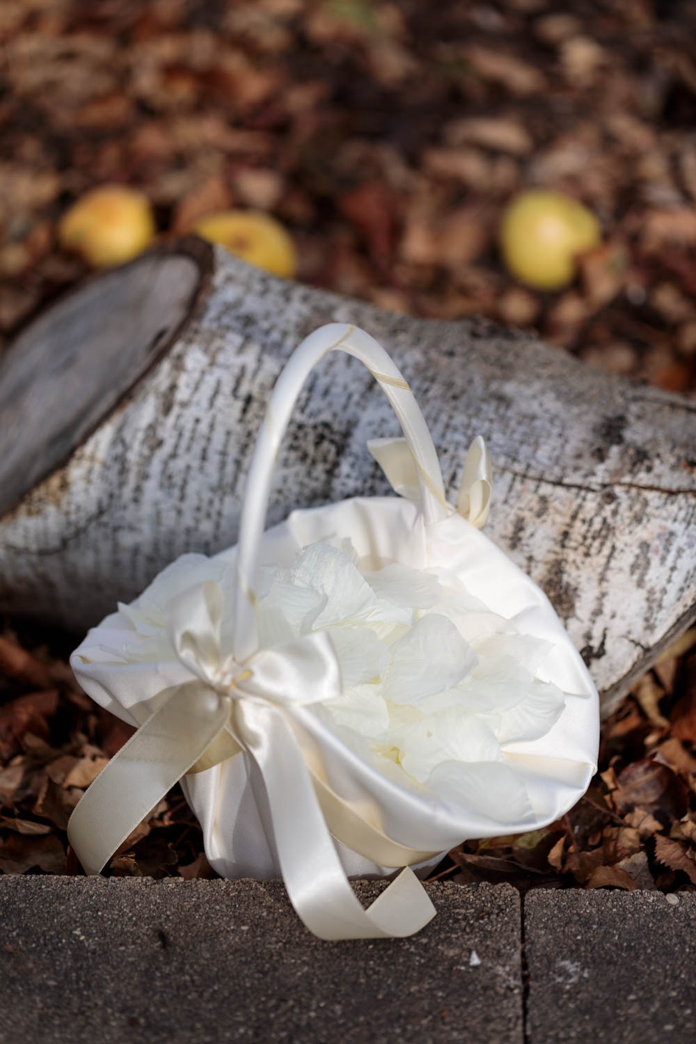 Flower petals in a satin basket