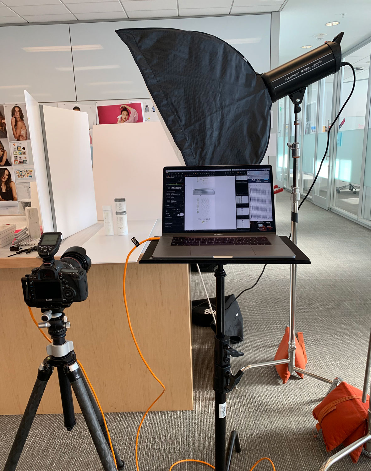 Behind the scenes of a product shoot