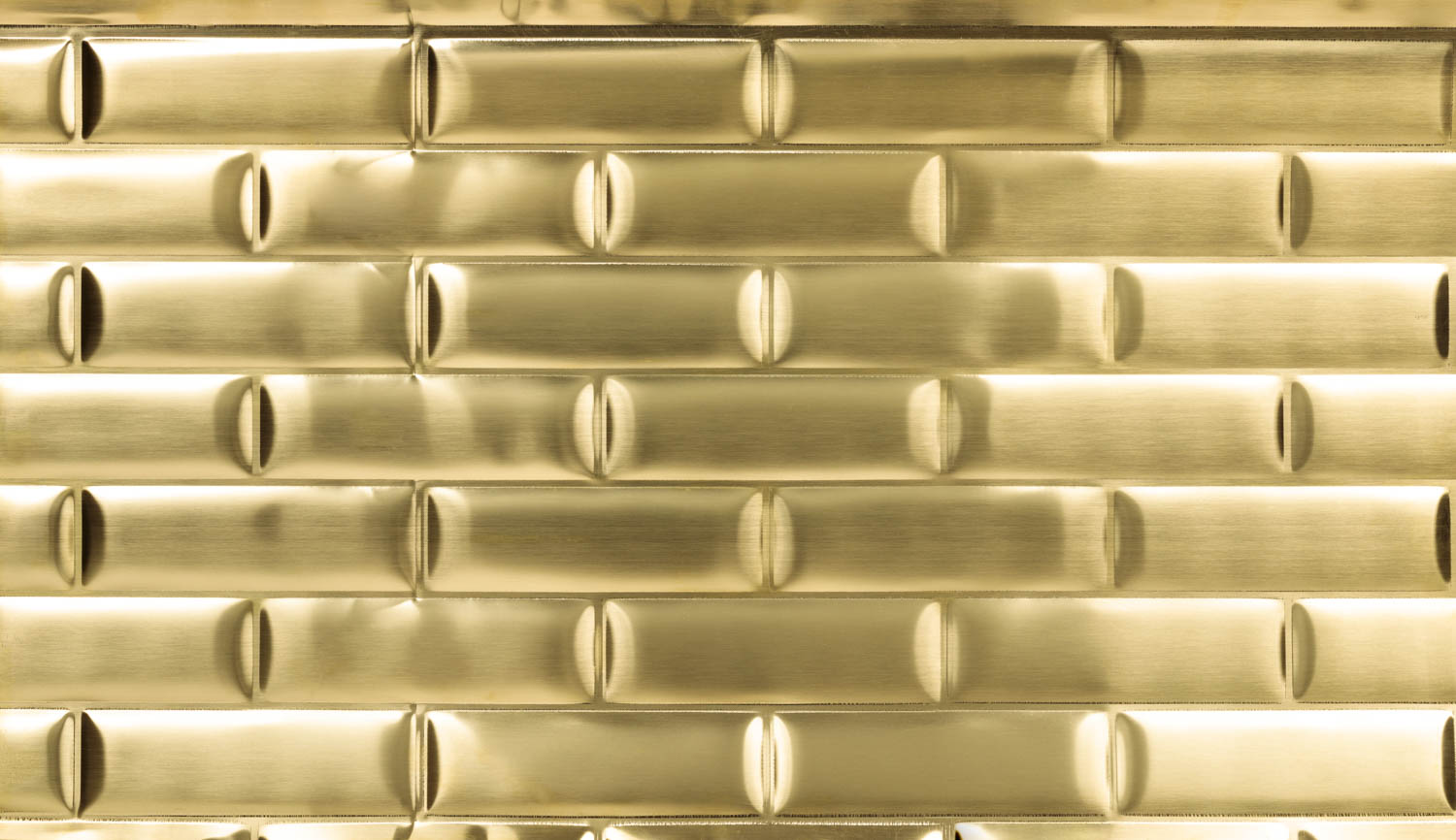 Gold colored aluminum subway tiles