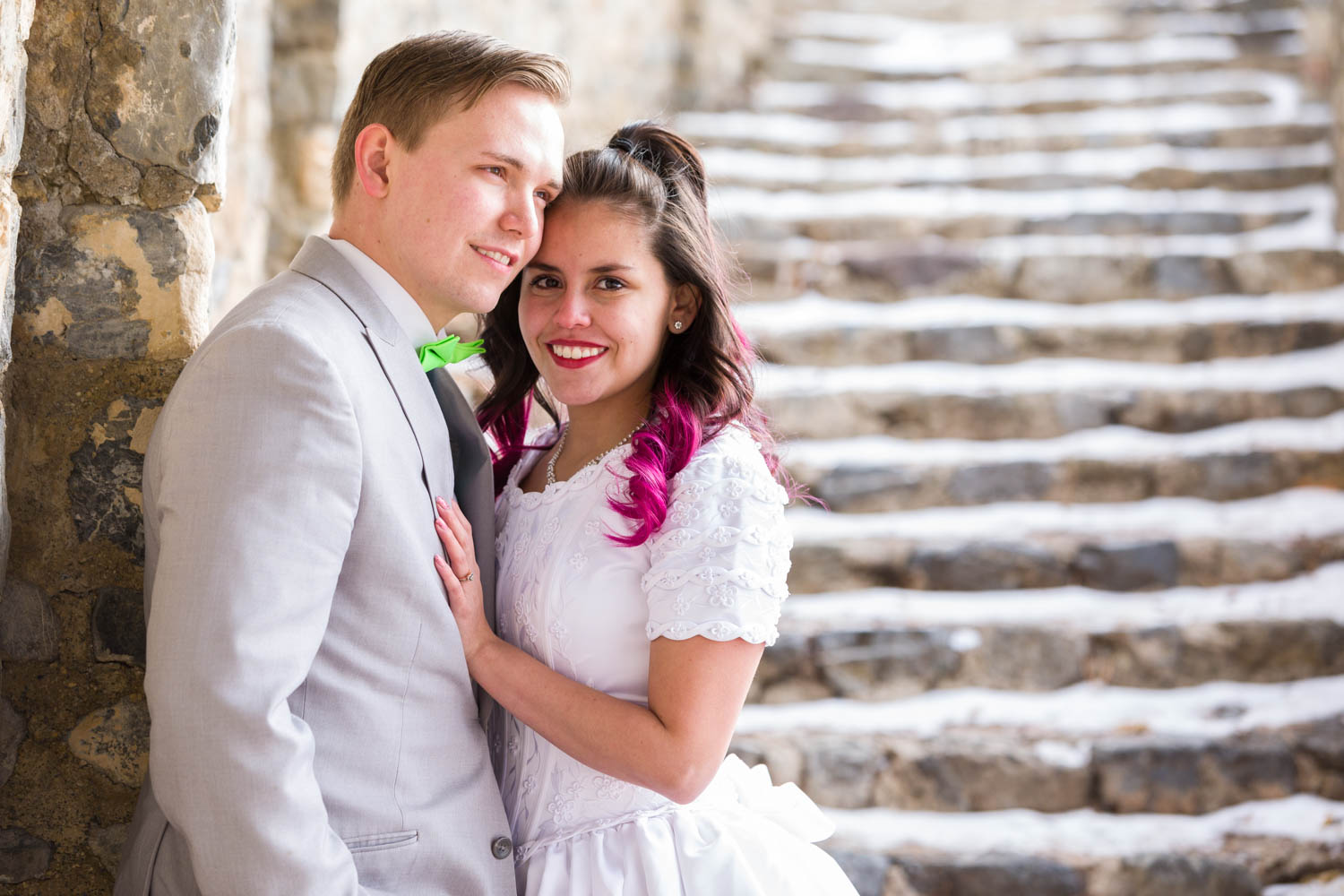 Bride and groom at the Provo Castle