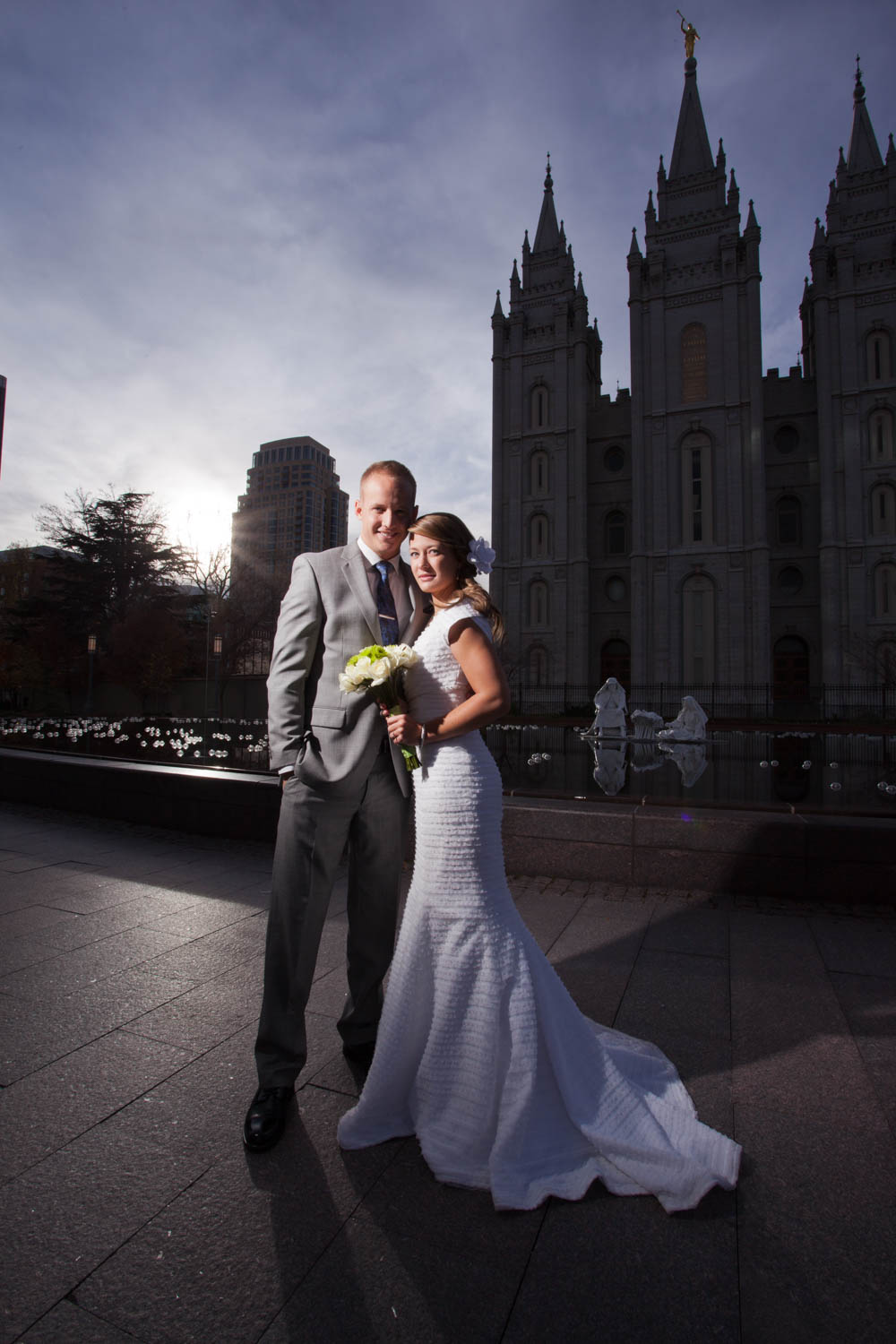 Dramatic wedding photo with the Salt Lake Temple