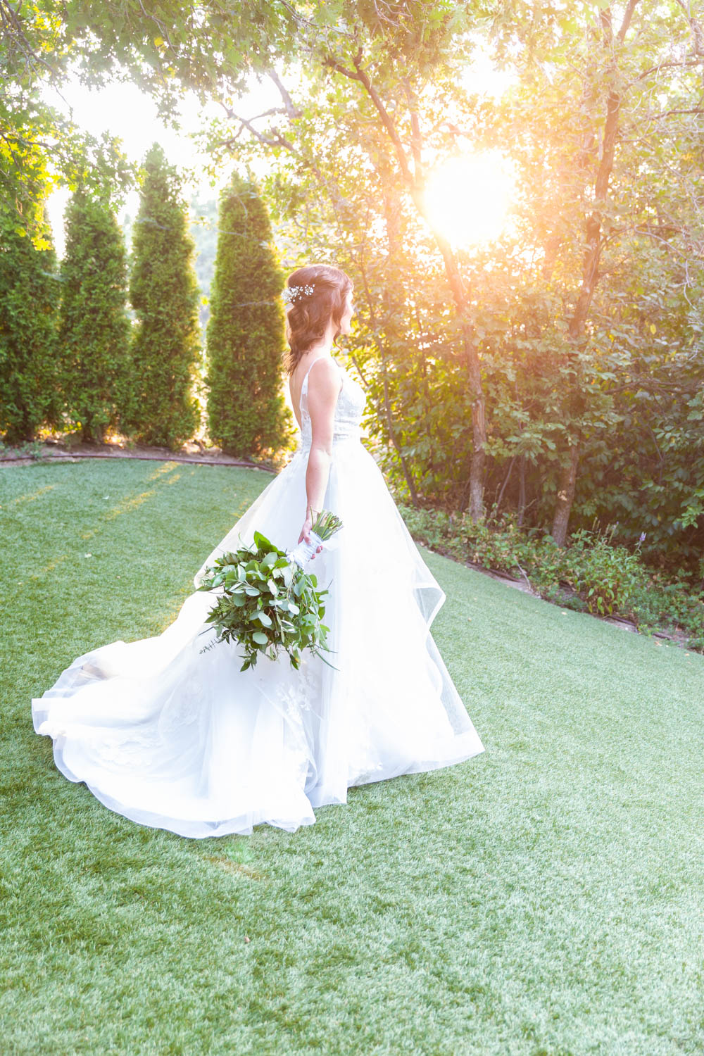A bridal portrait at golden hour