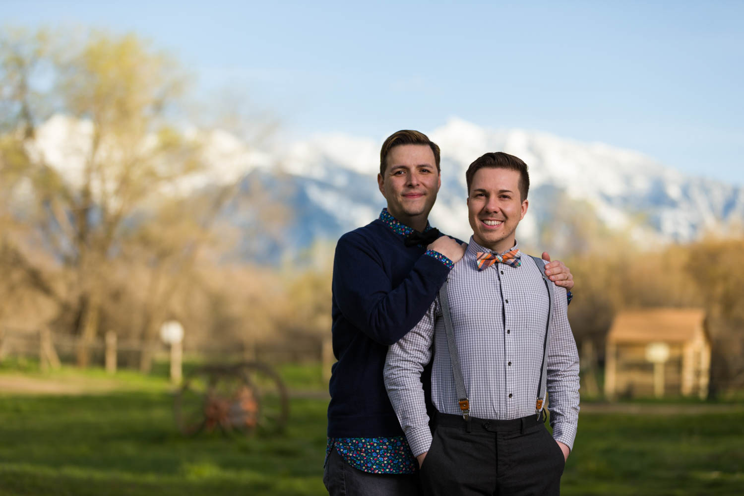 Snowcapped mountains for the spring engagement session