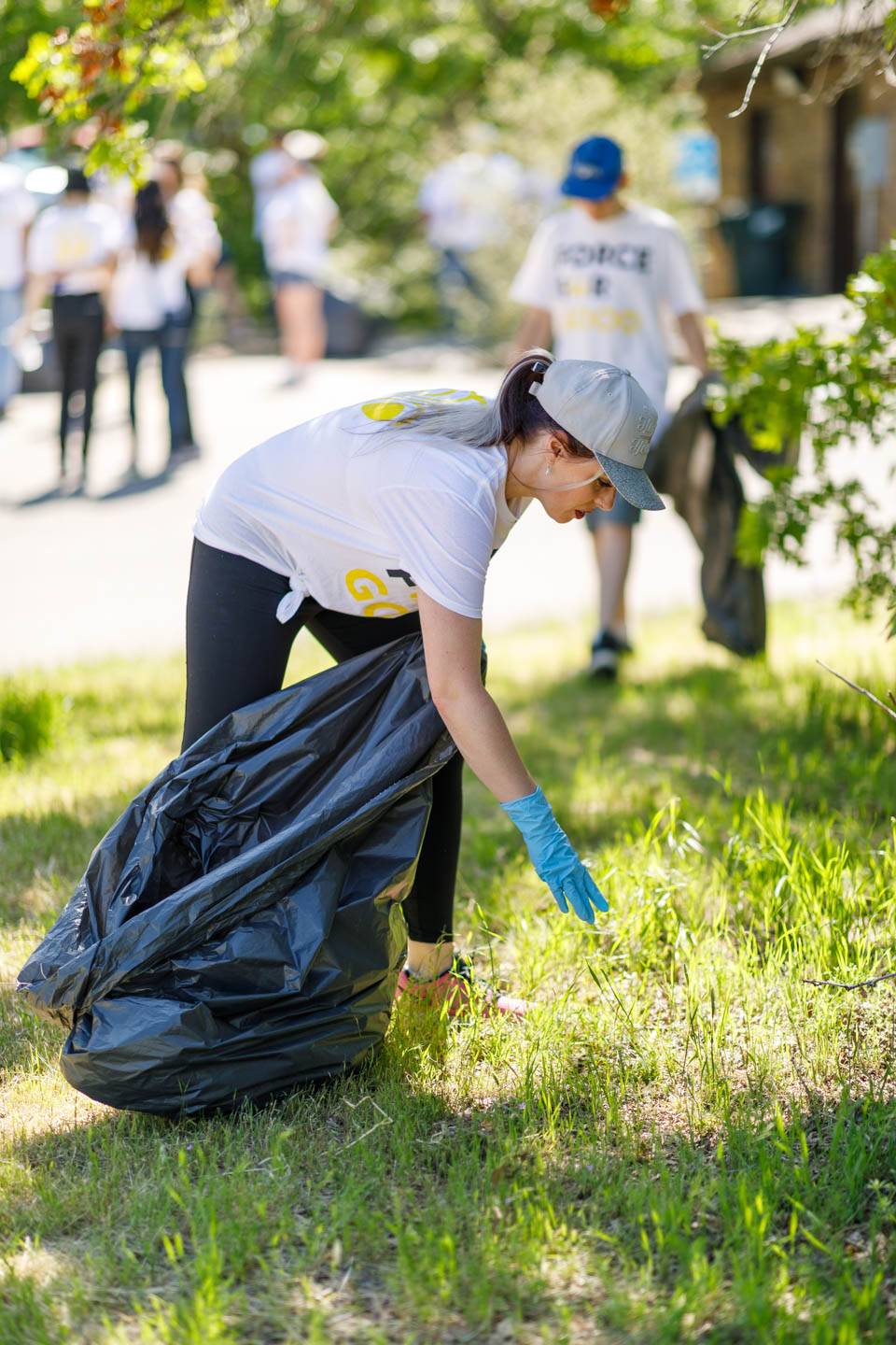 Cleaning up trash and weeds