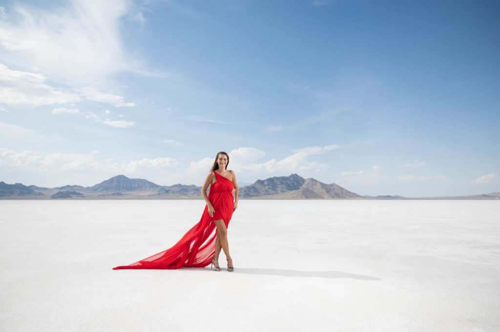 Red dress model on the Bonneville Salt Flats
